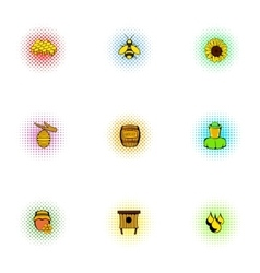 Beekeeping icons set pop-art style vector