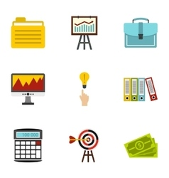 Business icons set flat style vector