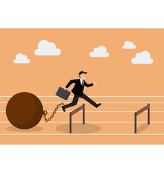 Businessman jumping over hurdle with the weight vector