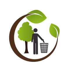 circular emblem formed by branch and tree with man vector image