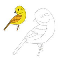 Connect the dots game yellowhammer bird vector image vector image
