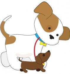 cute puppy walking a pup vector image vector image