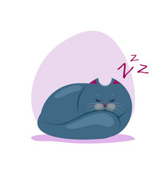 Cute sleeping fatty smokey blue vector