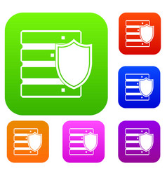 database with shield set collection vector image