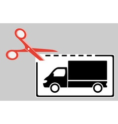 Delivery coupon with scissors and truck vector