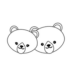 dotted shape cute bear head animal couple together vector image vector image
