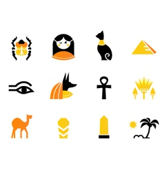 Egypt icons and design elements vector