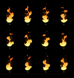 Fire sprite sheet cartoon flame game vector