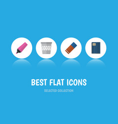 flat icon stationery set of copybook rubber vector image vector image