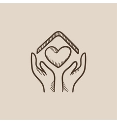 Hands holding house symbol with heart shape sketch vector