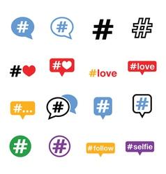 Hashtag social media icons set vector image vector image