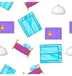 Hotel pattern cartoon style vector image vector image