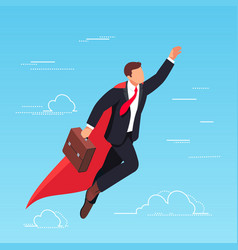 isometric businessman flying in the sky vector image