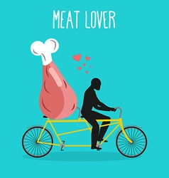 Meat lovers ham on bicycle lovers of cycling man vector