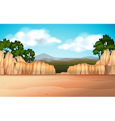 Nature scene with desert field and canyons vector image vector image