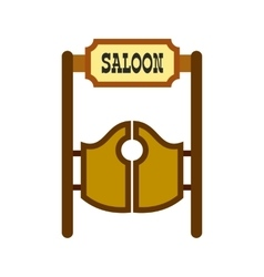 Old western swinging saloon doors icon vector
