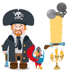 Pirate captain and parrot cartoon characters man vector