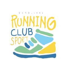 running club cport logo symbol colorful hand vector image vector image