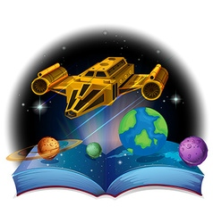 Sciene book with spaceship and solar system vector image vector image