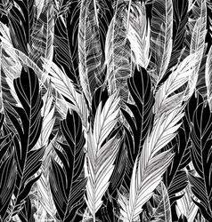 Seamless beautiful pattern feathers black white vector