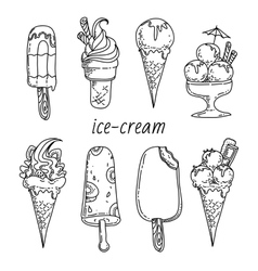 Set of eight icecreams black-white images vector image