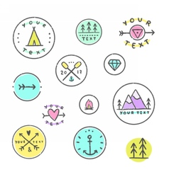Set of hipster badges camping tribal etc vector