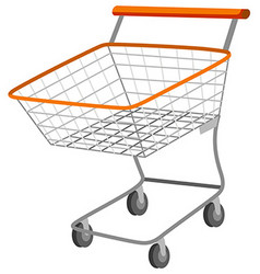Shopping cart with metal basket vector