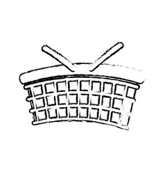 Sketch basket utensil picnic vector