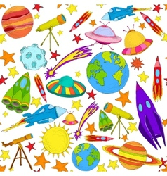 Space colored seamless pattern vector image