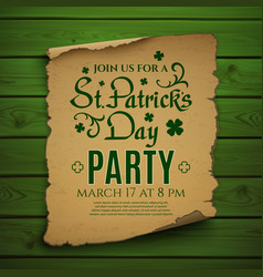 St Patricks Day party Invitation poster vector image