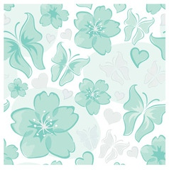turquoise floral background vector image vector image