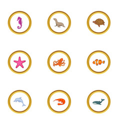 underwater animal icons set cartoon style vector image