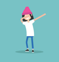 Young female character making dab dance flat vector