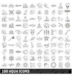 100 aqua icons set outline style vector