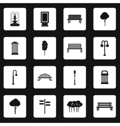 Park icons set simple style vector