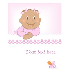 Happy african baby girl arrival announcement vector