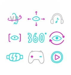 Set of virtual reality icons glasses eyes 360 vector