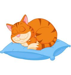 cat cartoon sleeping on a pillow vector image