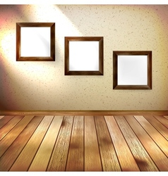 Retro room with three frames EPS 10 vector image