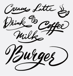 burger and coffee hand written typography vector image
