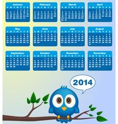 2014 calendar with funny blue bird vector image