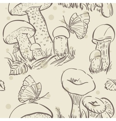 Seamless texture contour of white mushrooms autumn vector