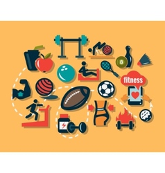 Flat fitness icons vector