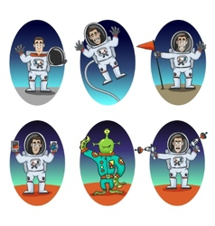 Astronaut emotions set vector