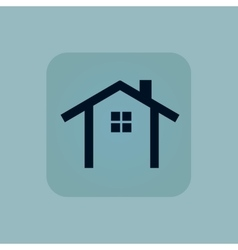 Pale blue cottage icon vector