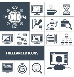 Freelancer Icons Black vector image