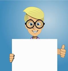 Boy holding a blank form vector
