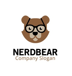 Nerd bear design vector