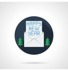 Happy new year wishes round flat icon vector