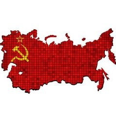 Soviet union map with flag inside vector